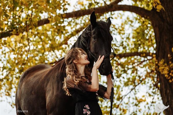 Romantiška fotosesija su žirgais sodyboje